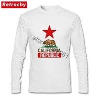 T-shirt California Republic State Flag Thanh Niên Đau Khổ Tees Nam Dài Tay Áo Giá Rẻ Giá Thương Hiệu Độc Đáo Trang Phục