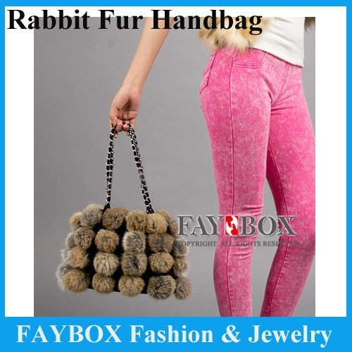 Genuine Rabbit Fur handbag women fashion charm using cute fur bag Hot style Hot Sale Retail !