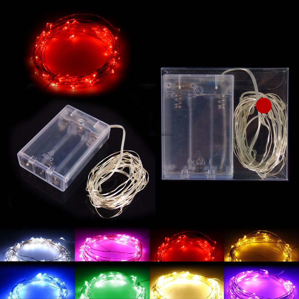 3AA Battery Powered 2M 20 led LED Silver Color Copper Wire Fairy String Lights lamp for Christmas Holiday Wedding and Party