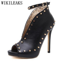 women shoes extreme high heels rivets sandals sapatos mulher scarpin tacones stiletto ladies pumps woman valentine shoes black