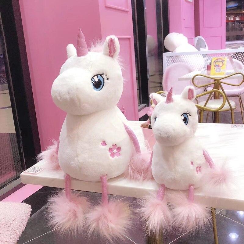 1 pz 35/60 cm Bella Unicorn con la Coda Lunga Farcito Kawaii Morbido Unicorno Giocattoli di Peluche per I Bambini Creativi regalo di compleanno per le Ragazze