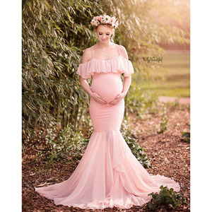 Image 4 - Long Maternity Photography Props Dresses For Pregnant Women Clothes Maternity Dresses For Photo Shoot Pregnancy Dress Maxi Gown