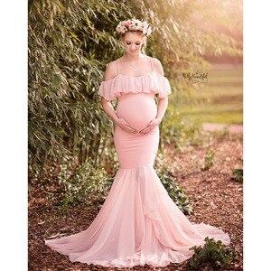 Image 4 - Longo fotografia adereços vestidos para grávidas roupas femininas vestidos de maternidade para sessão de fotos vestido de gravidez maxi