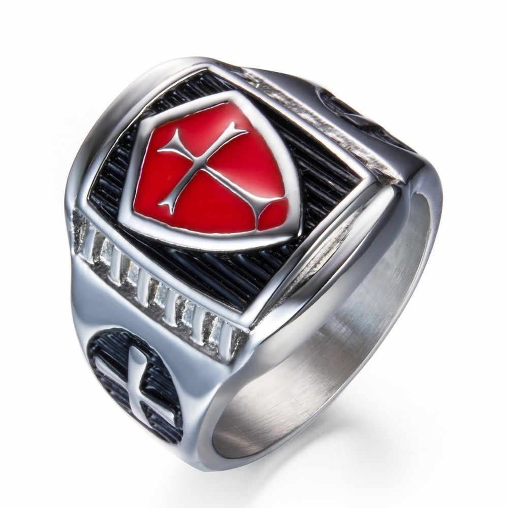 США 7 до 14 Ман Нержавеющаясталь Титан красный Броня щит рыцаря тамплиеров крестовый поход крест перстень средневековой перстень Ретро Винтаж