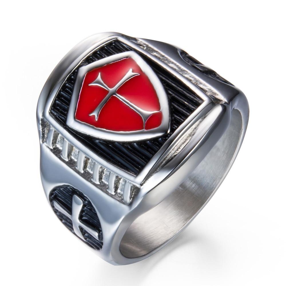 Jude Jewelers Retro Vintage Crusade Cross Biker Religious Ring Stainless Steel Red Enamel