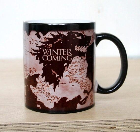 Drop shipping 1pcs Magic Mugs Winter is coming mug Magic color changing mugs cup Tea coffee