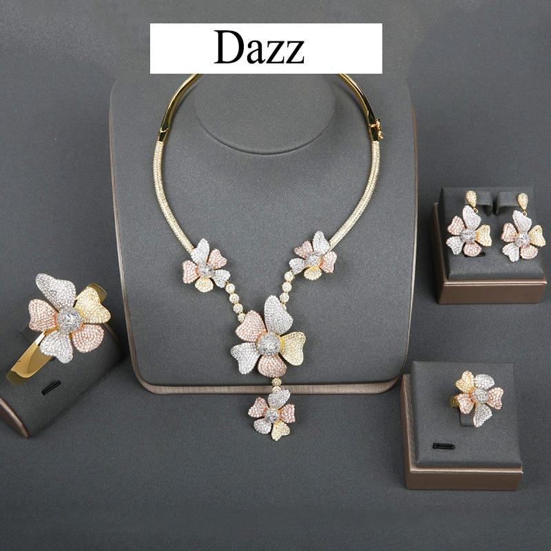 Dazz luxury Big Flower CZ Zircon Wedding Nigeria Jewelry Set For Women DUBAI Bridal Necklace Earring Ring Bangle 2019 Bijoux 4pc