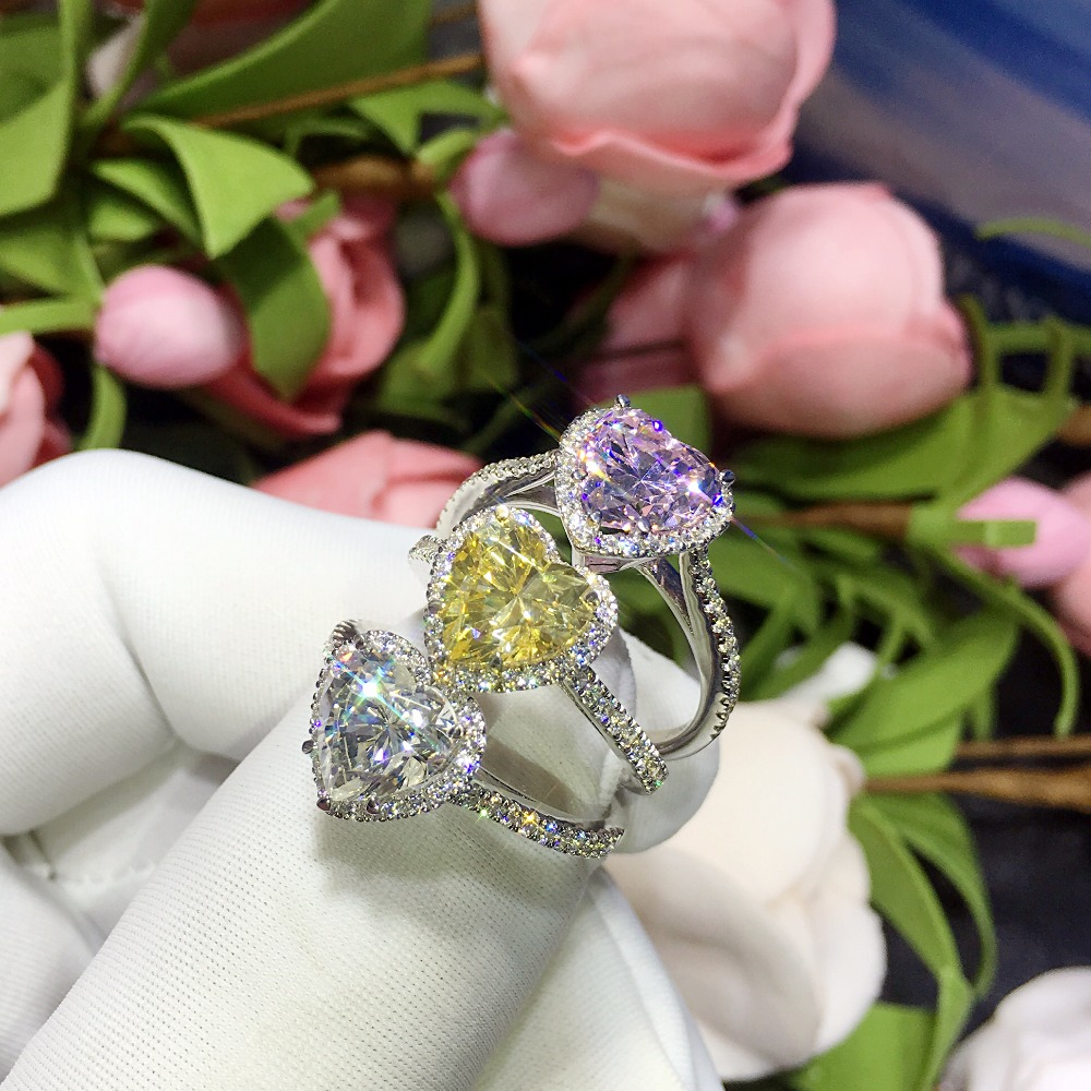 TR246 Heart Shape Synthetic Gem Engagement Ring 2 Carat Halo Micro Pave Setting Wedding Rings for women
