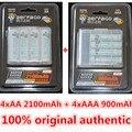 Aerfago 4 pc/1 cartão de 1.2 v 2100 mah baterias aa + 4 pcs/1 cartão de 900 mah pilhas aaa ni-mh aa/aaa batt recarregável + caixa de bateria portátil