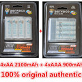 Aerfago 4 unid/1 tarjeta de 1.2 v 2100 mah baterías aa + 4 unids/1 tarjeta 900 mah pilas aaa ni-mh aa/aaa guata recargable + caja de la batería portátil