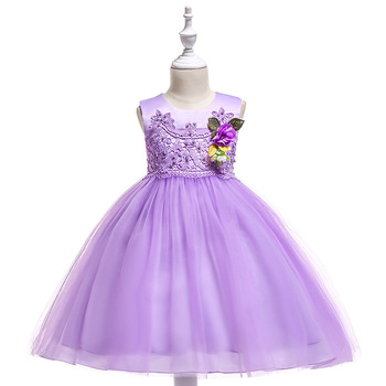 Cheap Champagne Flower Girl Dresses Baby Pageant Birthday Party Dress Zipper Tulle First Communion Gown PurpleFlower Girls Dress pink girls shoulderless wedding dress long trailing party tulle princess birthday dress christmas gown first communion dresses