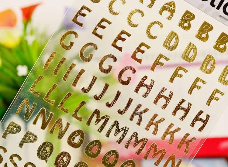 งานฝีมือ Bronzing 21.5*10 ซม./ทอง DIY สมุดภาพดิจิตอลตัวอักษรจำนวนสติกเกอร์ตกแต่งของเล่น GYH