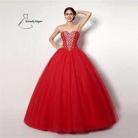 Rode Baljurk Floor organza trouwjurk Voor Bruiloft gelegenheden met Sequineds SH0258