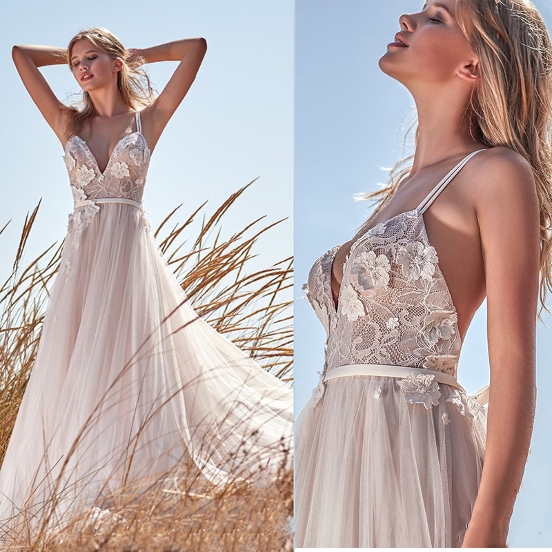Sexy Wedding Dress 2020 Lace V-neck A-line Bridal Dress Plus Size Custom Made Flower Boho Wedding Gown Vestido De Noiva