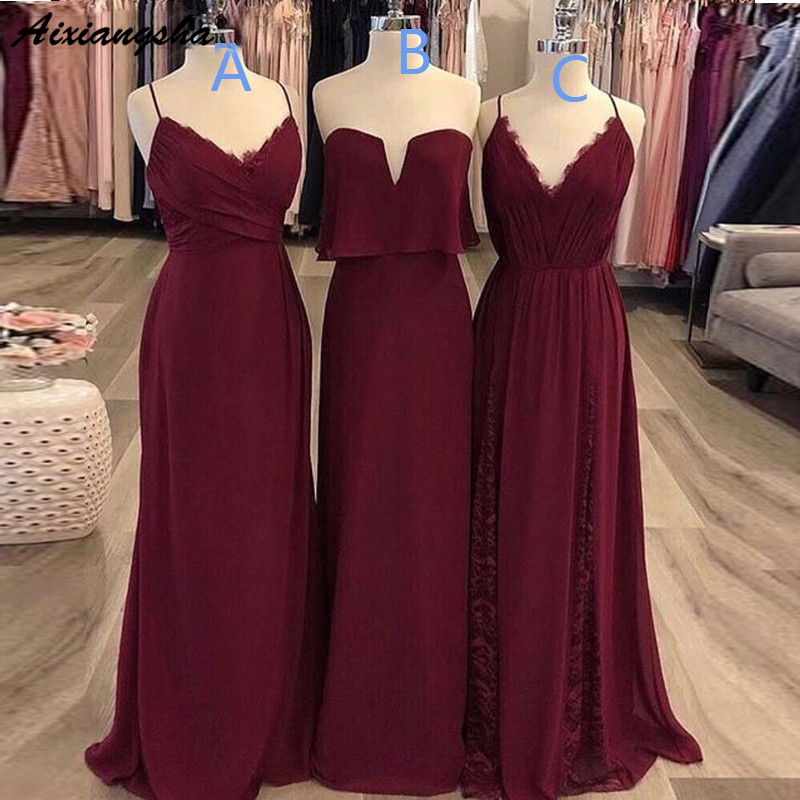 Elegant Spaghetti Straps Chiffon Burgundy   Bridesmaid     Dress   Long Women Guest   Dress   for Wedding Party Gowns Maid of Honor   Dresses
