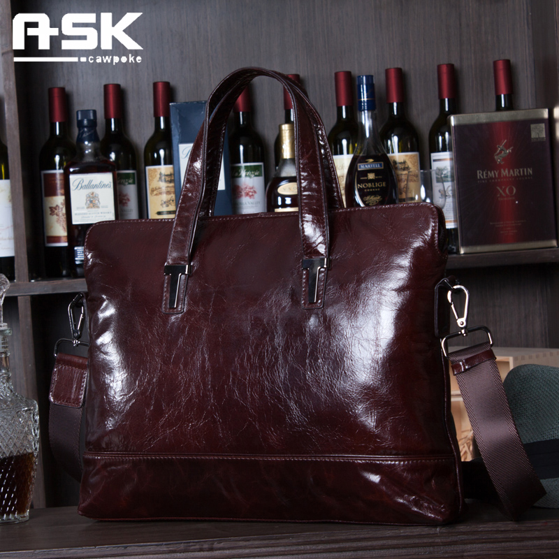 Ask genuine leather man bag commercial cowhide briefcase handbag messenger bag laptop bag leather waxing oil