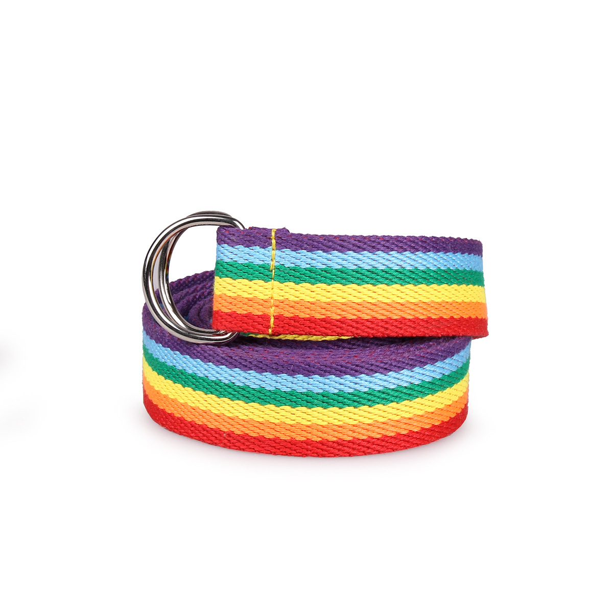 Unisex Double Ring D-type Buckle Rainbow Strip Webbing Casual Wild Decorative Canvas Belt Women Simple Fashion Design BL502