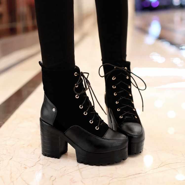 PXELENA 2018 Kış Retro Gotik Tıknaz Kalın Yüksek Topuklu Bayan Lace Up Platformu yarım çizmeler Ayakkabı Martin binici çizmeleri Artı Boyutu