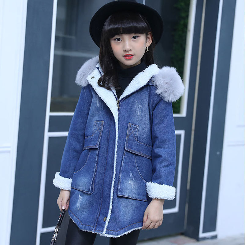 Vestidos Children Clothes Girls Winter Jacket Cotton Padded Denim Hooded Coat with Fur Warm Zipper Long Outerwear 2017 Fashion куртки asics куртка accelerate jacket