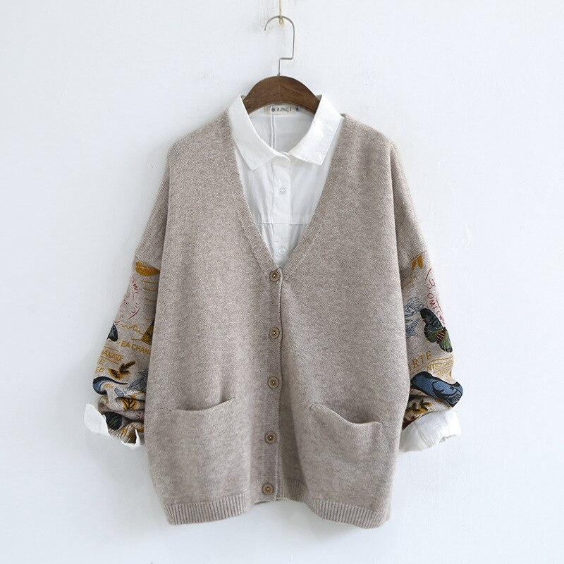 Fleur Ouverte Picture Chandail Maille Cardigan As Automne Hiver Knit Casual Imprimer Femmes Oiseau Cardigans 2017 0wXkP8nO