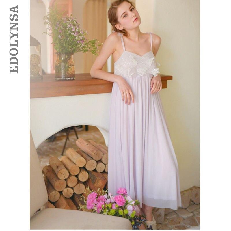 Sexy Plus Size Women Lace Nightwear Sleepwear Chemise   Nightgowns     Sleepshirts   Strap White Sleep Dress Cotton Night Gown Long T7
