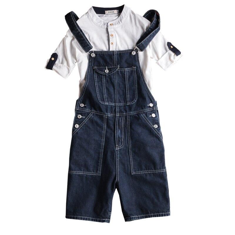 Summer trend Tooling Denim Shorts Women Retro Piece Suspenders Bib Mens Blue Five Pants More Size S-XXL
