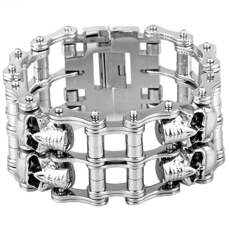Bracelet large énorme de motard de moteur de rangée de crâne d'acier inoxydable argenté gothique des hommes 38mm9in