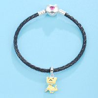 2018 Summer Jewelry Original New Design Popular Lovely Style Black Leather Bracelet With Yellow Cat Pendant