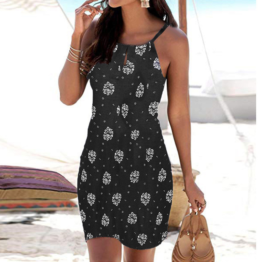 Fashion Dress Women Halter Neck Boho Print Sleeveless Casual Beachwear Dress Sundress Bohemian Strand Jurkjes Summer Dress Women