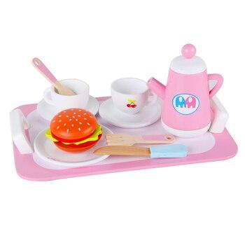 10 Pcs Teh Set Tahan Lama Indah Mini Simulasi Kayu Berpura-pura Bermain Mainan Afternoon Tea untuk Gadis Anak Anak