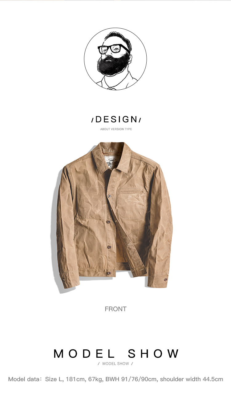HTB1idRqXcvrK1Rjy0Feq6ATmVXah MADEN Men's Waxed Canvas Cotton Jacket Military Light Spring Work Jacket Khaki