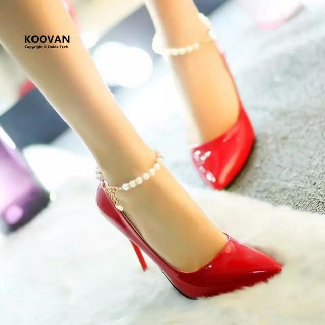 Koovan Women Pumps 2017 Spring New Fashion Women Shoes Pointed High Heels Shoes Fashion Thin Heels Pearl Wedding Shoes Red Pink
