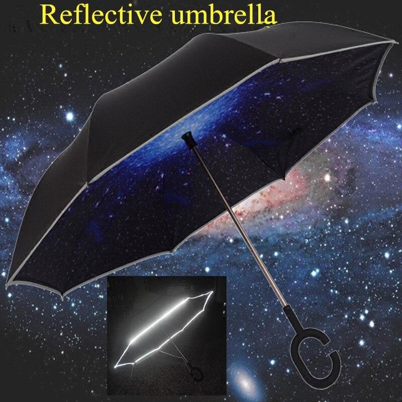 Nouveau design de luxe cadeaux créatifs qualité hommes femmes double couche mains libres réfléchissant longue pluie inverse voiture parapluie grand grand