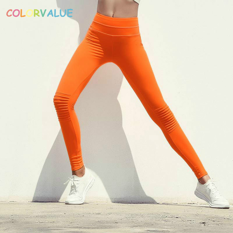 Colorvalue Flexible Solid Training Sport Leggings Women Plus Size Fitness Yoga Pants High Waisted Workout Running Tights S-XL цена 2017