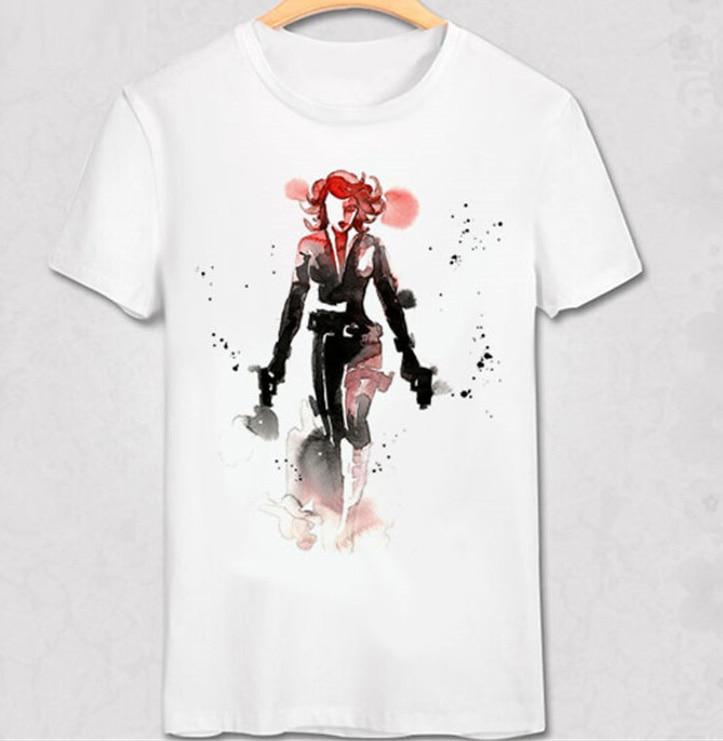 Marvel Avengers Black Widow T Shirt Scarlett Black Widow T-shirt Avengers Superhero Hand-painted Magic Color Oil Paint Tee Shirt