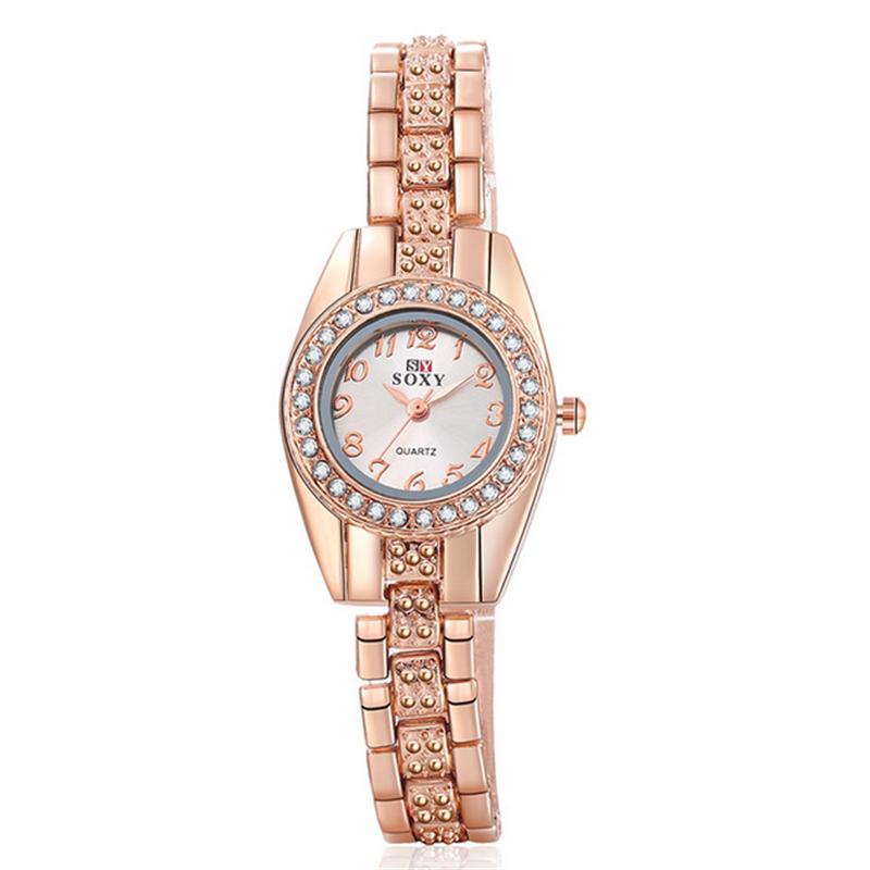 Amazing Venuss Hot Sale New Ladies Watches Quartz Timer Rose-Gold Alloy Crystal Dial Wristwatch Women Girl Gift