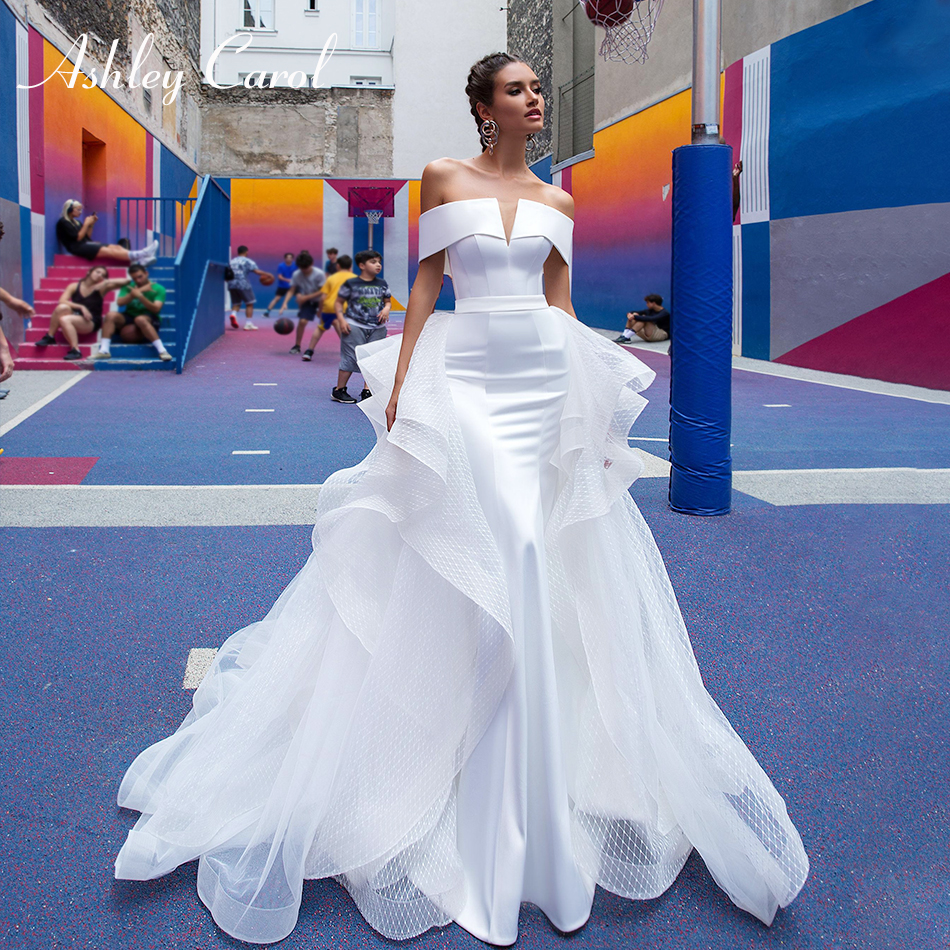 Ashley Carol Elegant Boat Neck Satin Mermaid Wedding Dress 2019 Detachable Train Sexy Cap Sleeve Simple Vintage Wedding Gowns