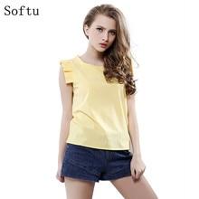 Softu Fashion Women Summer Blouse O Neck Butterfly Sleeve Solid Shirt Elegant Leisure Chiffon Blouses