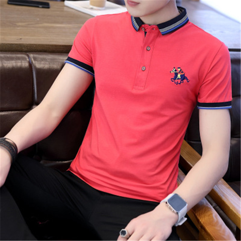Men Polo Shirts 2018 New Summer Fashion Half Sleeve Embroidery Horse Breathable Camisa Masculina Cotton Polo Mens Plus Size 4XL 3