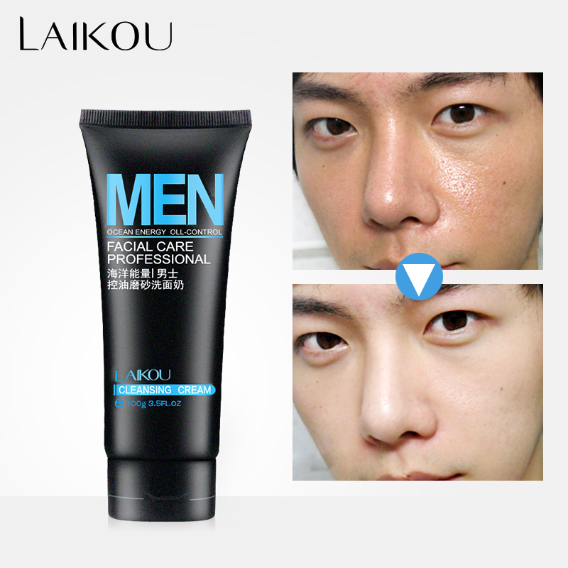 LAIKOU Face Washing Men Product Face Cleanser Facial Scrubs Natural Face Wash &Cleanser for Oily and Acne Prone Skin Oil Control image