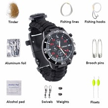 Multifuctional Fishing Survival Watch Alarm Gear Bangle Parachute Cord Outdoor Survival Kit Hight Quality Fishing Tools