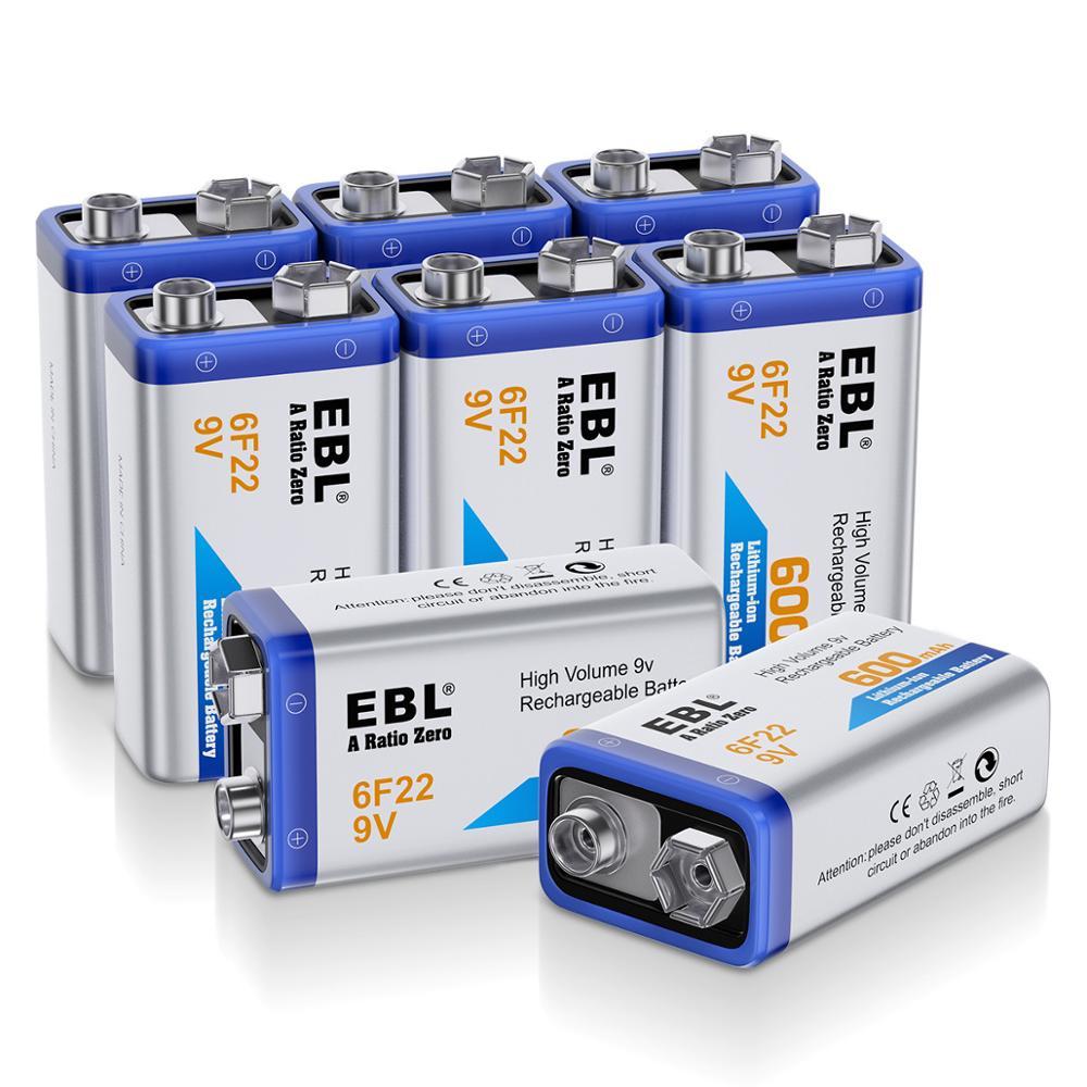EBL 8 pièces 6F22 600 mAh 9 v Batteries rechargeables Li-ion batterie de remplacement un Ratio zéro Batteries Lithium-ion livraison gratuite