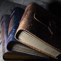 Cuero hecho a mano de la vendimia Cuaderno del diario de viaje en blanco papel de escritura nota Libros regalos escuela Oficina papelería