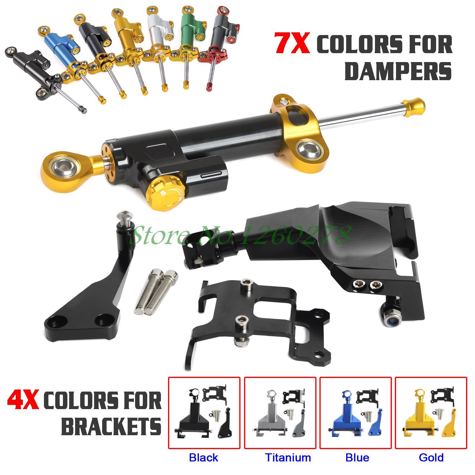 Motorcycle Steering Damper & Bracket Mounting Kit For YAMAHA MT07 MOTO CAGE 2014 2015 2016 MT 07