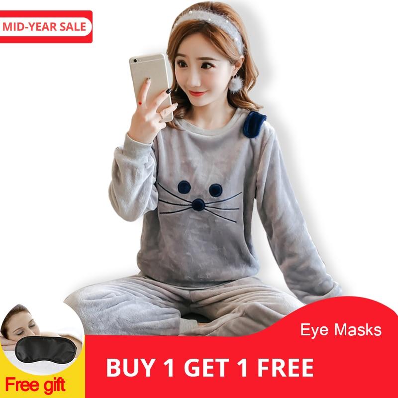 Women's   Pajamas   Autumn and Winter   Pajamas     set   Women Long Sleeve Sleepwear Flannel Warm Lovely Tops + Pants Sleep Pyjama Female