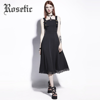 Rosetic Gothic Embroidery Lace Patchwork Buttons Spaghetti Strap Black Backless Dress Women Party Evening Elegant Dresses