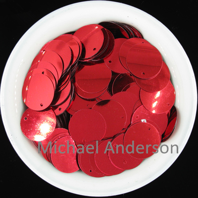 Red Color 250pcs Large Round Sequins 20mm PVC Sequin Flat Round Paillette Sequins Decoration With Side Hole