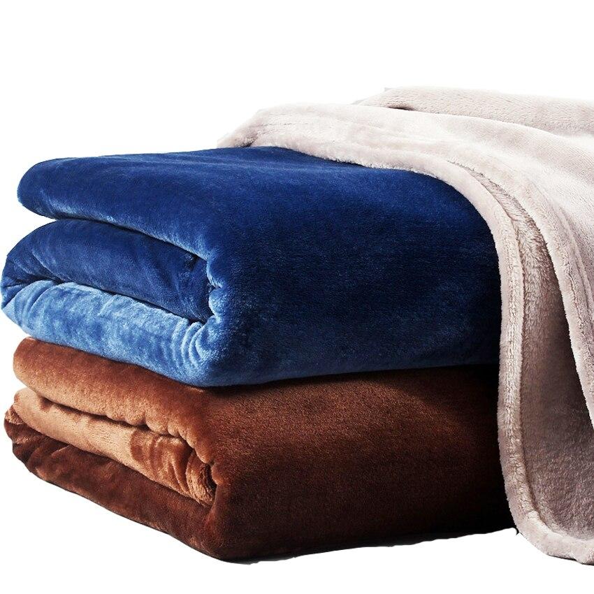 Einfarbig Flanell Korallen Fleece Decke Super Weiche Plaid Bettdecke Sofa Abdeckung Winter Warme Blätter Einfach Waschen Faux Pelz Decken