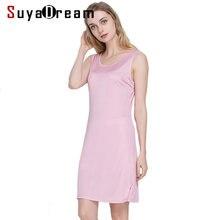 cbda89772eb 100% натуральный шелк женское платье для сна одноцветное базовое платье-комбинация  анти опорожненные полные