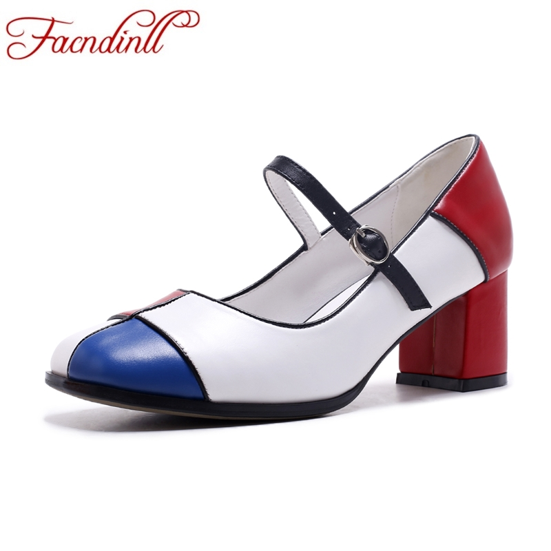 FACNDINLL new fashion 2017 genuine leather women pumps square high heels Mary Janes spring autumn shoes woman dress party shoes esveva 2017 women pumps mary janes spring autumn shoes square high heel pumps flock party wedding women shoes big size 34 43